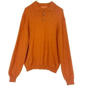 Sette Ponti Orange Merino Wool Collared Pullover